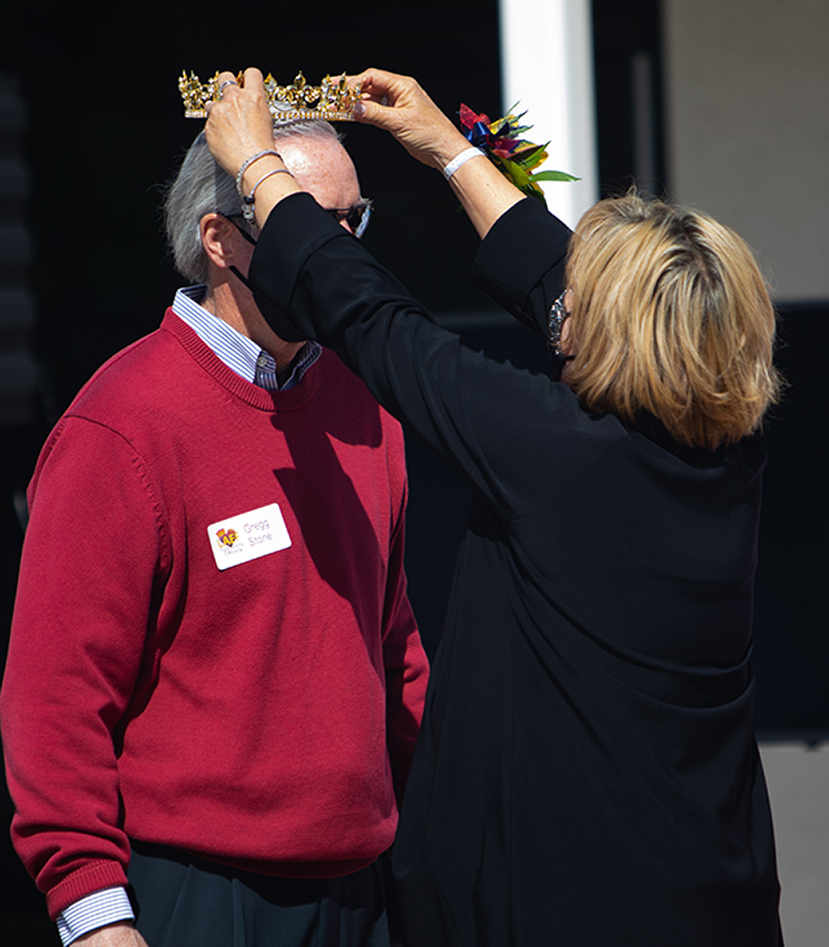 Los Alamitos High School's Interim Principal, Dr. Gregg Stone was appointed by the LAEF Board and crowned LAEF's 2021 King by 2020 Queen, Dr. Sherry Kropp.